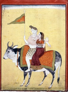 Indian. Shiva and Parvati Riding on Shiva's Mount, Nandi, ca. 1800. Opaque watercolor and gold on paper, sheet: 6 1/4 x 4 11/16 in.  (15.9 x 11.9 cm). Brooklyn Museum, Gift of Martha M. Green, 1994.191.1