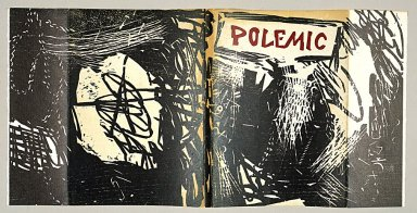 "Roy Lichtenstein (American, 1923-1997). Cover for ""Polemic"" Magazine, 1959. Woodcut on paper, sheet: 9 15/16 x 20 7/8 in. (25.2 x 53 cm). Brooklyn Museum, Alfred T. White Fund, 1996.13a-b. ©  Estate of Roy Lichtenstein"