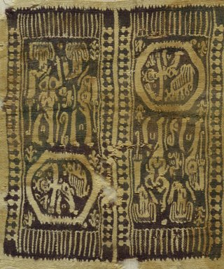 Coptic?. Textile Panel with Four Figural Vignettes, 5th-7th century C.E. Wool, 8 7/8 x 7 3/4 in. (22.5 x 19.7 cm). Brooklyn Museum, Bequest of Mrs. Carl L. Selden, 1996.146.12. Creative Commons-BY