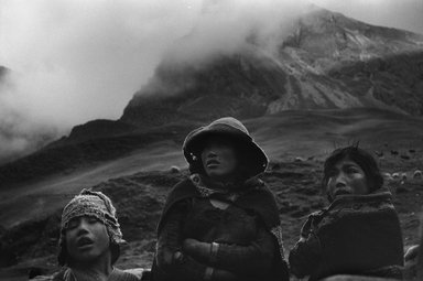 John Cohen (American, born 1932). Qeros, Peru (Three Heads), 1956; printed 1957. Gelatin silver photograph, Image/Sheet: 8 3/4 x 13 1/2 in. (22.3 x 34.4 cm). Brooklyn Museum, Gift of the artist, 1996.165. Permission required, each time.