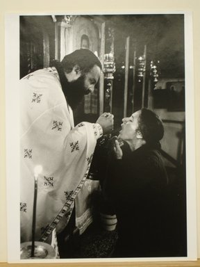 "Georgios Katsagelos. Receiving the Blood of Christ (from ""Religious"" series), 1995. Gelatin silver photograph, Image: 15 1/2 x 10 1/2 in. (39.4 x 26.8 cm). Brooklyn Museum, Gift of the artist, 1996.193.2. © Georgios Katsagelos"