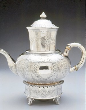 """Gale and Willis. """"Biggin"""" Coffee Pot, ca. 1865. Silver, 11 x 10 1/4 in. (27.9 x 26 cm). Brooklyn Museum, Gift of Wunsch Americana Foundation, Inc., 1996.219.6a-f. Creative Commons-BY"""
