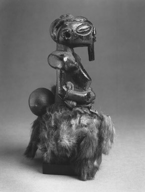 Zimba. Divination Torso Figure (Nkishi), 19th century. Wood, fur, cord, horn, gourd, metal, palm oil, 7 3/4 x 4 x 5 1/2 in. ( 19.7 x 10.2 x14.0 cm). Brooklyn Museum, Gift of The Roebling Society in memory of Sylvia Williams, 1996.21. Creative Commons-BY