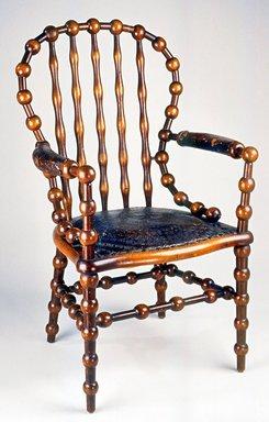 Attributed to George Jacob Hunzinger (American, born Germany, 1835-1898). Armchair, 1890s. Wood, leather, 43 1/4 x 26 x 25 1/4 in. (109.8 x 66.0 x 64.1 cm). Brooklyn Museum, Gift of Norman Mizuno and Alan J. Davidson in memory of Shinko Takeda, Kazu Takeda, Miyo Takeda and Yoshi Takeda, 1996.38a-b. Creative Commons-BY