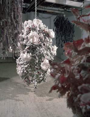 Petah Coyne (American, born 1953). Untitled #816 (Dr. Zhivago), 1995-1996. Formulated wax, steel, antique birdhouse, wire cable, ribbon, silk flowers, candles, 75 1/2 x 52 x 47 in., 480 lb. (191.8 x 132.1 x 119.4 cm, 217.7kg). Brooklyn Museum, Anonymous gift in honor of Charlotta Kotik, 1997.191. © Petah Coyne, Courtesy Galerie Lelong, New York