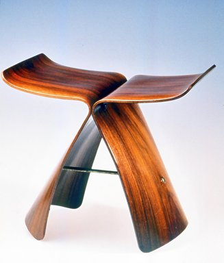 Yanagi Sori (Japanese). Butterfly Stool, designed  1954. Rosewood veneer on plywood, brass, metal, 15 x 16 7/8 x 12 1/8 in. (38.1 x 42.9 x 30.8 cm). Brooklyn Museum, Alfred T. and Caroline S. Zoebisch Fund, 1997.67.1. Creative Commons-BY