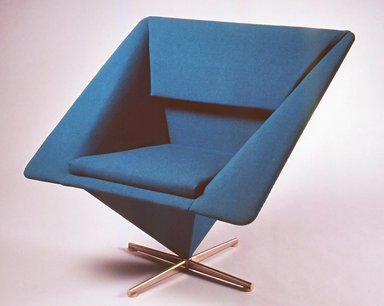 Verner Panton (Danish, 1926-1998). Pyramid Armchair, 1959. Wool upholstery, bent sheet metal construction on chrome plated base, 30 x 32 x 26 in. (76.2 x 81.3 x 66.1 cm). Brooklyn Museum, Modernism Benefit Fund and H. Randolph Lever Fund, 1997.67.2. Creative Commons-BY