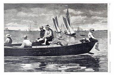 Winslow Homer (American, 1836-1910). Gloucester Harbor, 1873. Wood engraving, Image: 9 1/4 x 14 in. (23.5 x 35.6 cm). Brooklyn Museum, Gift of Harvey Isbitts, 1998.105.179