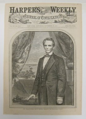 Winslow Homer (American, 1836-1910). Hon. Abraham Lincoln, born in Kentucky, February 12, 1809, 1860. Wood engraving, Illustration: 8 1/2 x 5 3/4 in. (21.8 x 14.8 cm). Brooklyn Museum, Gift of Harvey Isbitts, 1998.105.42