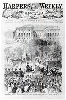 Winslow Homer (American, 1836-1910). The Inaugural Procession at Washington Passing the Gate of the Capitol Grounds, 1861. Wood engraving, Illustration: 11 1/8 x 9 1/16 in. Brooklyn Museum, Gift of Harvey Isbitts, 1998.105.49