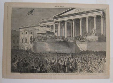 Winslow Homer (American, 1836-1910). The Inauguration of Abraham Lincoln as President of the United States, at the Capitol, Washington, March 4, 1861, 1861. Wood engraving, Illustration: 13 3/4 x 20 1/4 in. (35 x 51.5 cm). Brooklyn Museum, Gift of Harvey Isbitts, 1998.105.52
