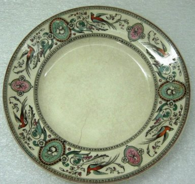 Ridgway, Sparks, & Ridgway. Plate, Chelsea Pattern, 1875-1879; Patented May 31 1875. Glazed earthenware, 1 x 8 3/8 x 8 3/8 in.  (2.5 x 21.3 x 21.3 cm). Brooklyn Museum, Gift of Jason and Susanna Berger, 1999.103.26. Creative Commons-BY