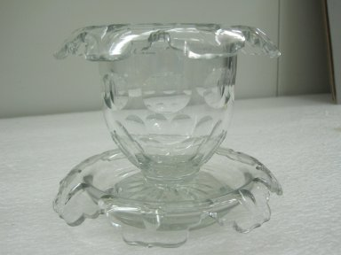 Compote and Underplate, ca. 1825. Glass, a- 4 1/4 x 5 1/2 x 5 1/2 in.  (10.8 x 14.0 x 14.0 cm). Brooklyn Museum, Gift of Jason and Susanna Berger, 1999.103.30a-b. Creative Commons-BY
