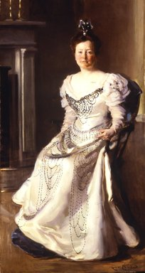 Cecelia Beaux (American, 1855-1942). Mrs. Robert Abbe (Catherine Amory Bennett), 1898-1899. Oil on canvas, 74 x 39 in. (188 x 99.1 cm). Brooklyn Museum, Gift of Mr. and Mrs. M. R. Schweitzer, 1999.113