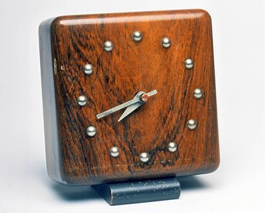 Gilbert Rohde (American, 1894-1944). Clock, ca. 1933. Wood, metal, 5 1/4 x 4 3/4 x 3 in. (13.3 x 12.1 x 7.6 cm). Brooklyn Museum, Gift of Paul F. Walter, 1999.141.3. Creative Commons-BY