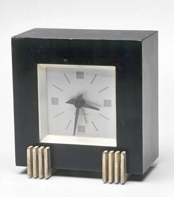 Seth Thomas Clock Co. (founded 1813). Clock, ca. 1935. Painted wood, metal and glass, 4 5/8 x 4 1/2 x 2 7/8 in.  (11.7 x 11.4 x 7.3 cm). Brooklyn Museum, Gift of Paul F. Walter, 1999.141.8. Creative Commons-BY