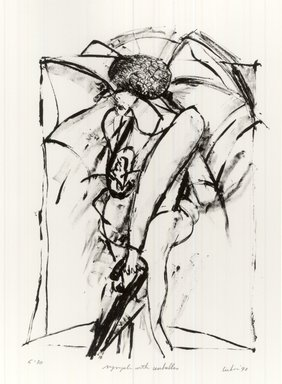 Gerson Leiber (American, born 1921). Nymph with Umbrellas, 1990-1991. Lithograph, Sheet: 19 1/8 x 13 1/16 in. (48.6 x 33.2 cm). Brooklyn Museum, Gift of Mr. and Mrs. Gerson Leiber, 1999.146.8. © Gerson Leiber