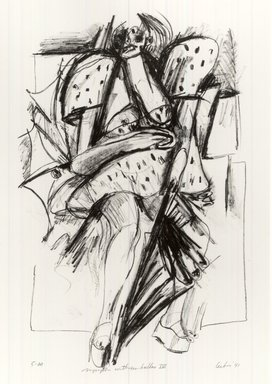 Gerson Leiber (American, born 1921). Nymph with Umbrellas lV, 1990-1991. Lithograph, Sheet: 19 x 13 3/8 in. (48.3 x 34 cm). Brooklyn Museum, Gift of Mr. and Mrs. Gerson Leiber, 1999.146.9. © Gerson Leiber