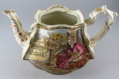 """Teapot, """"Geisha,"""" Registered (shape)1898; Registered (design)1899. Glazed earthenware, 7 x 9 1/2 x 5 1/2 in.  (17.8 x 24.1 x 14.0 cm). Brooklyn Museum, Gift of Paul F. Walter, 1999.29.57a-b. Creative Commons-BY"""