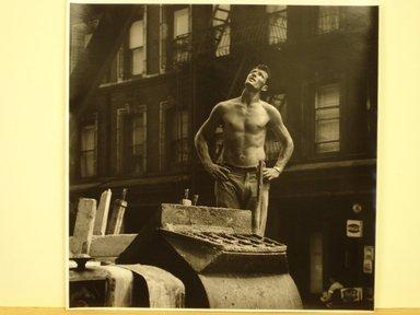 Jim Steinhardt (American, 1917-2010). Cement Worker Looking Upwards, 1955. Toned gelatin silver photograph, Sheet: 11 x 10 3/4 in.  (27.9 x 27.3 cm);. Brooklyn Museum, Gift of the artist, 1999.94.2. © Estate of Jim Steinhardt