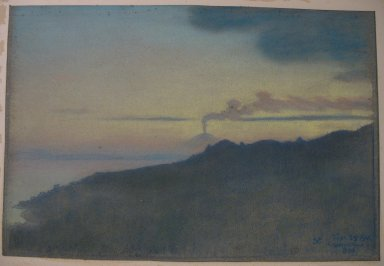 Charles Caryl Coleman (American, 1840-1928). Casamicciola As Seen from the Island of Ischia, 1904. Pastel on gray-blue wove paper mounted overall to an acidic, 2-ply board, Sheet: 12 1/8 x 18 1/4 in. (30.8 x 46.4 cm). Brooklyn Museum, Gift of the artist, 20.777