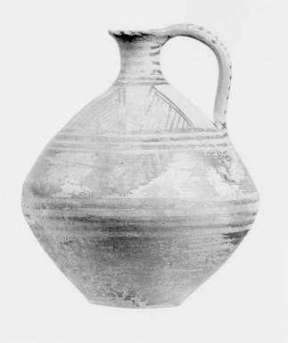 Possibly Greek. One of Three Round Jugs with Narrow Neck and Loop Handle, late 8th-early 7th century B.C.E. Terracotta, painted, 5 7/16 x Diam. 4 5/8 in. (13.8 x 11.7 cm). Brooklyn Museum, Bequest of Samuel E. Haslett, 20.965.3. Creative Commons-BY