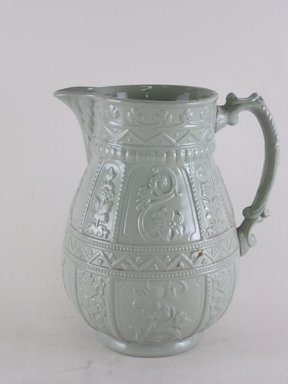 Dudson Ware (English). Jug, After 1891. Light green glazed stoneware, 7 3/4 x 7 x 5 in.  (19.7 x 19.1 x 14.6 cm). Brooklyn Museum, Gift of Gretchen Adkins, 2000.126.3. Creative Commons-BY