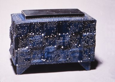 Kondo Takahiro (Japanese, born 1958). Incense Burner with Silver Cover, 2001. Porcelain with cobalt glaze and overglaze decoration, 3 3/4 x 5 3/4 x 2 3/8 in.  (9.5 x 14.6 x 6.0 cm). Brooklyn Museum, Purchase gift of Dr. and Mrs. Richard Dickes, 2001.30a-b. Creative Commons-BY