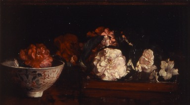John La Farge (American, 1835-1910). Flowers on a Japanese Tray on a Mahogany Table, 1879. Oil on panel, 10 3/8 x 18 1/16 in. (26.3 x 45.8 cm). Brooklyn Museum, Bequest of Christiana C. Burnett, great-niece of the artist, 2001.47.1