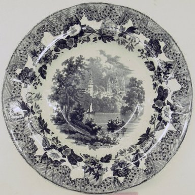 Enoch Wood & Sons (active 1818-1846). Plate, European Scenery Pattern, ca. 1840. Glazed earthenware, height: 1 1/4 in. (3.2 cm); diameter: 10 1/4 in. (26.0 cm). Brooklyn Museum, Gift of Paul F. Walter, 2001.55.17. Creative Commons-BY