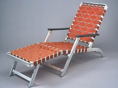Troy Sunshade Company, a division of Hobart Manufacturing Company. Folding Lounge Chair, ca.1952. Aluminum, plastic, nylon webbing, 34 3/4 x 24 5/8 x 61 7/8 in. (88.3 x 62.5 x 157.2cm). Brooklyn Museum, Gift of Barbara Jakobson, 2002.15. Creative Commons-BY