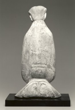 Funerary Figure. Grey earthenware with white and red polychrome., 19 3/4 x 9 15/16 x 5 1/4 in. (50.2 x 25.2 x 13.3 cm). Brooklyn Museum, Gift of Charles Tanenbaum in loving memory of his wife, Mary, 2003.66a-c. Creative Commons-BY
