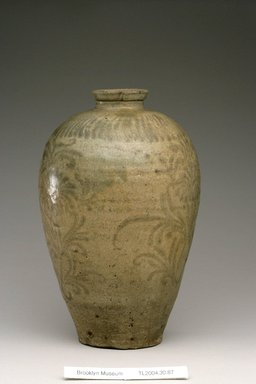 Vase, 12th century. Stoneware with olive-green celadon glaze and underglaze iron painting, Height: 10 5/16 in. (26.2 cm). Brooklyn Museum, The Peggy N. and Roger G. Gerry Collection, 2004.28.105. Creative Commons-BY
