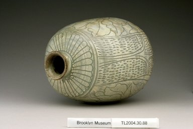 Bottle, last half of 15th century. Buncheong ware, stoneware with celadon glaze and white slip, 8 3/8 x 6 x 5 1/8 in. (21.3 x 15.3 x 13 cm). Brooklyn Museum, The Peggy N. and Roger G. Gerry Collection, 2004.28.106. Creative Commons-BY
