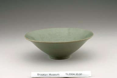 Bowl, last half of the 12th century. Stoneware with celadon glaze, Height: 2 1/16 in. (5.3 cm). Brooklyn Museum, The Peggy N. and Roger G. Gerry Collection, 2004.28.109. Creative Commons-BY