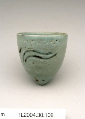 Cup, 13th century. Stoneware with celadon glaze, metal staple repairs, Height: 2 3/8 in. (6 cm). Brooklyn Museum, The Peggy N. and Roger G. Gerry Collection, 2004.28.126. Creative Commons-BY