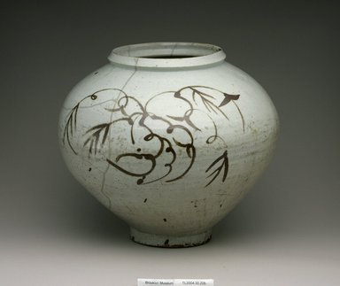 Jar, 17th century. Porcelain with underglaze iron decoration, Height: 13 9/16 in. (34.5 cm). Brooklyn Museum, The Peggy N. and Roger G. Gerry Collection, 2004.28.236. Creative Commons-BY
