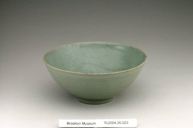 Bowl, first half 12th century. Stoneware with celadon glaze, Height: 2 7/8 in. (7.3 cm). Brooklyn Museum, The Peggy N. and Roger G. Gerry Collection, 2004.28.245. Creative Commons-BY