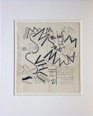 Filippo Tommaso Marinetti (Italian, 1876-1944). Après la Marne, Joffre visita le front en auto, 1919. Relief print, Sheet: 10 1/4 x 9 1/8 in. (26 x 23.2 cm). Brooklyn Museum, Bequest of Richard J. Kempe, 2005.11.7