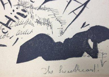 Filippo Tommaso Marinetti (Italian, 1876-1944). Le soir, couchée dans son lit, elle relisait la lettre de son artilleur au front, 1919. Relief print, Sheet: 13 3/8 x 9 1/8 in. (34 x 23.2 cm). Brooklyn Museum, Bequest of Richard J. Kempe, 2005.11.8