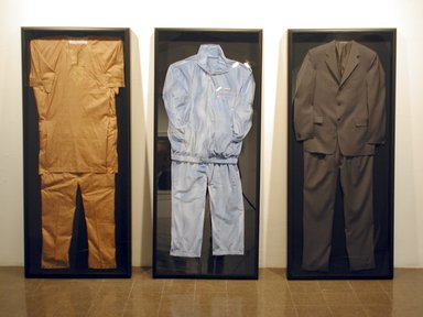 Rashid Johnson (American, born 1977). The Evolution of the Negro Political Costume, 2004. Mixed media, Each: 74 x 32 x 4 in. (188 x 81.3 x 10.2 cm). Brooklyn Museum, Gift of Lawrence Calcagno, Mrs. John Colt, Mr. and Mrs. Allan D. Emil, Dr. and Mrs. Milton H. Schlesinger, and Mr. and Mrs. Harry L. Tepper, by exchange, 2005.58a-c. © Rashid Johnson