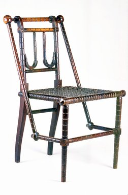 George Jacob Hunzinger (American, born Germany, 1835-1898). Side Chair, Patented March 30, 1869 and April 18, 1876. Wood and textile covered steel webbing, 32 x 17 1/2 x 19 1/2 in. (81.3 x 44.5 x 49.5 cm). Brooklyn Museum, Gift of Ronald S. Kane, 2005.64. Creative Commons-BY