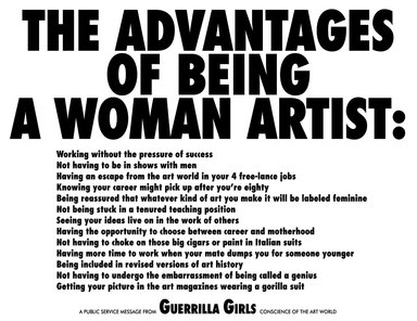 Guerrilla Girls (American, founded 1985). The Advantages of Being a Woman Artist, 1988. Offset lithograph, 17 x 22 in. (43.2 x 55.9 cm). Brooklyn Museum, Gift of the artists, 2008.41. © Guerrilla Girls