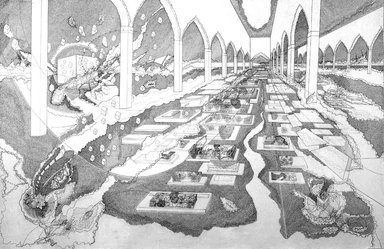 Seher Shah (Pakistani, born 1975). Interior Courtyard 2, 2007. Graphite pencil on white, medium weight, wove paper., 80 x 120 in. (203.2 x 304.8 cm). Brooklyn Museum, Purchase gift of Dr. Margaret Hammerschlag and gift of Donald T. Johnson, by exchange, 2008.4. © Seher Shah