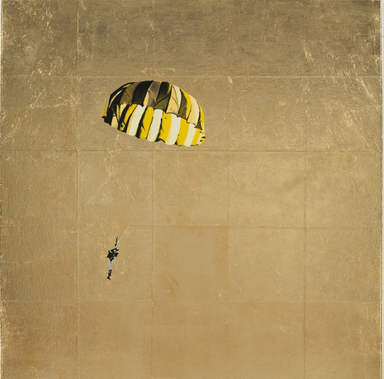 Isca Greenfield-Sanders (American, born 1978). Yellow and Black Parachute, 2008. Mixed media with gold leaf on canvas, 35 x 35 in. (88.9 x 88.9 cm). Brooklyn Museum, Anonymous gift in honor of Arnold and Pamela Lehman, 2009.26. © Isca Greenfield-Sanders