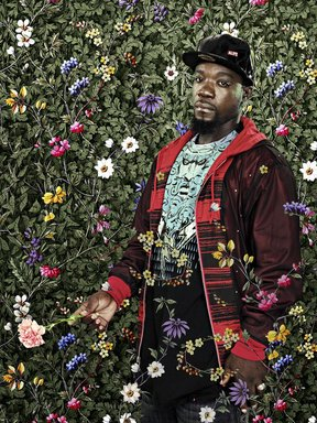 """Kehinde Wiley (American, born 1977). """"Miss Susanna Gale,"""" 2009. Photograph, Frame: 39 x 31 5/8 in. (99.1 x 80.3 cm). Brooklyn Museum, Gift of Dr. Abram Kanof and Mrs. Edwin De. T. Bechtel, by exchange, 2009.55. © Kehinde Wiley. Courtesy Sean Kelly Gallery, New York"""