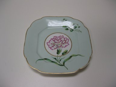 Union Porcelain Works (1863-ca. 1922). Plate, ca. 1885. Porcelain, with painted and gilded decoration, 7 1/4 x 7 1/4 x 7/8 in. (18.4 x 18.4 x 2.2 cm). Brooklyn Museum, Gift of Jay and Emma Lewis, 2009.76. Creative Commons-BY