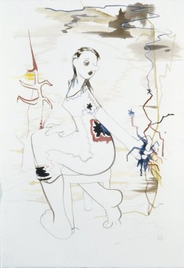 Ellen Berkenblit (American, born 1958). Turning Woman with Handful of Sparks, 1999. Mixed media on paper, Paper: 20 1/2 x 14 1/2 in. (52.1 x 36.8 cm). Brooklyn Museum, Gift of the Carol and Arthur Goldberg Collection, 2009.82.1. © Ellen Berkenblit