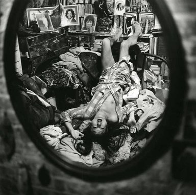 Arthur Tress (American, born 1940). Augusto Machato with Cinemabilia, NY, 1975. Gelatin silver photograph, 11 x 14 in. (27.9 x 35.6 cm). Brooklyn Museum, Gift of William and Marilyn Braunstein, 2009.86.15. © artist or artist's estate