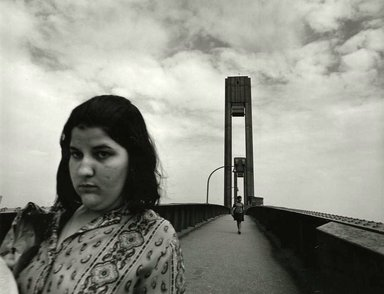 Arthur Tress (American, born 1940). Girl on Bridge, NY, 1970. Gelatin silver photograph, 11 x 14 in. (27.9 x 35.6 cm). Brooklyn Museum, Gift of William and Marilyn Braunstein, 2009.86.5. © artist or artist's estate
